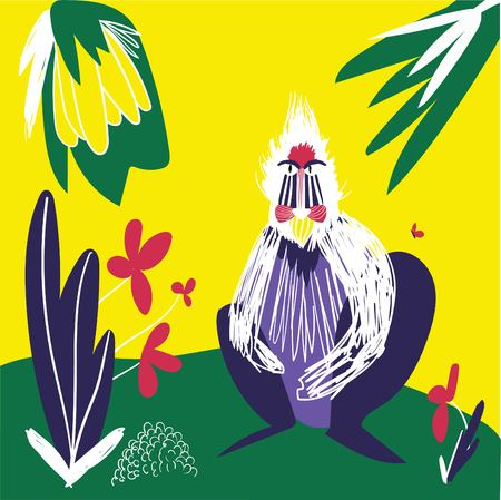 Baboon on yellow background with fruits, flowers, and butterfly. Exotic, tropical nature.