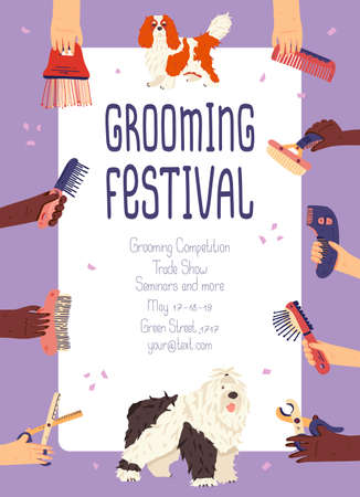 Grooming festival promo poster vector flat illustration with spaniel and bobtail dog breeds. Hands with tools for pet care. For online story, post social networks, advertising groomers events