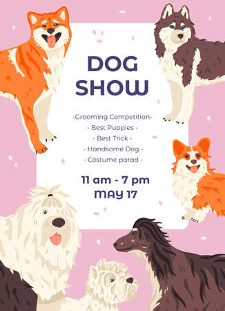Dog show promo poster template with different dogs breeds. Cute purebred pets or domestic animals. Vector flat illustration with place for your text
