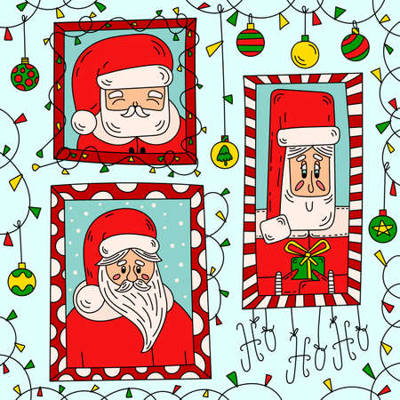 Santa Claus portrait. Xmas vector doodle line illustration. Cute hand drawn christmas cartoon characters and decoration frame. Winter holiday greeting and invitation card design