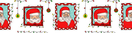 Seamless border with Santa Clauses portrets and Christmas decoration. Funny winter holiday nikolaus characters doodle vector illustration. Good for packing tape, xmas banners, wrapping paper