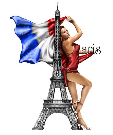 Paris Eiffel tower, beautiful girl in red dress with French flag Stok Fotoğraf - 94267738