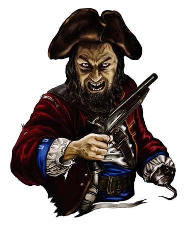 pirate zombie with a gun and a hook in the hat, threatening on white background Stock Photo