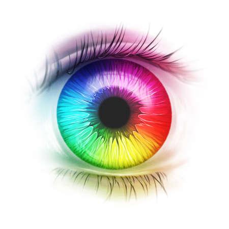 überraschtes Regenbogenauge, Wimpern, Farbspektrum, Iris, Pupille, psychedelisch
