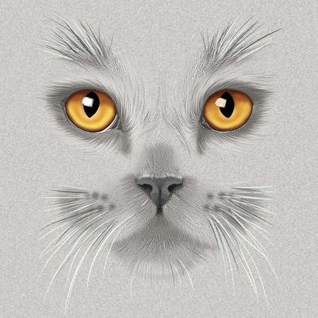 hand-drawing portrait of a a gray British cat with yellow eyes on a heathered background Stok Fotoğraf