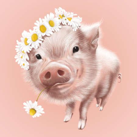 smiling cute pink mini pig in flowers, wreath of flowers, kind eyes