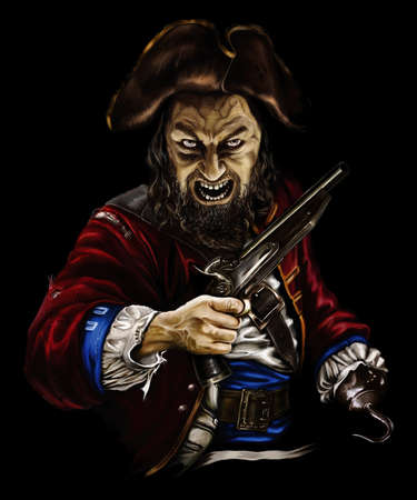 pirate zombie with a gun and a hook in the hat, threatening on black background Stok Fotoğraf - 94320751