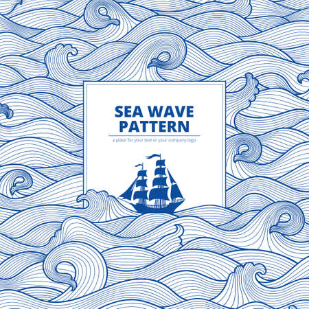 postcard banner monotone blue sea waves and the ship Illustration