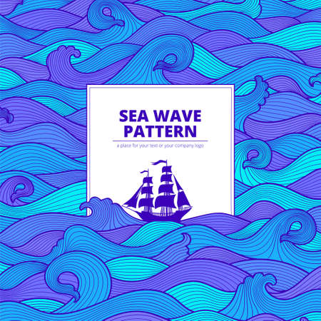 Postcard banner purple turquoise blue sea waves and the ship