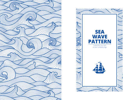 Postcard banner monotone blue sea waves and the ship