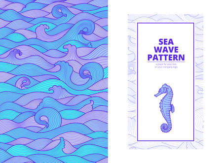 postcard banner purple turquoise blue sea waves and the seahorse