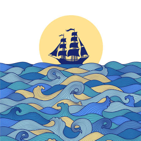 Postcard banner blue sea waves and the ship at sunset