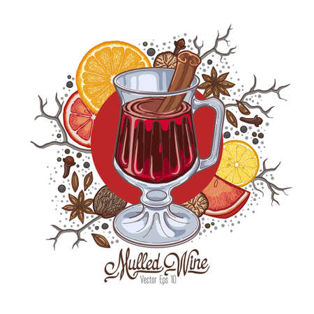 Mulled wine in the glass and components on a white background, spices and citrus. Illustration