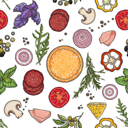 Pattern, pizza and ingredients on white background, cheese, vegetables, meat. Illustration