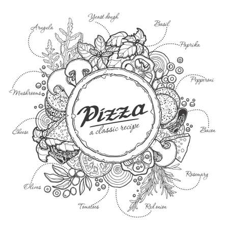 Pizza and ingredients, black outline on a white background cheese, vegetables, meat, recipe. Illustration