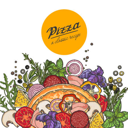 Pizza and ingredients on white background, cheese, vegetables, meat, recipe. Illustration