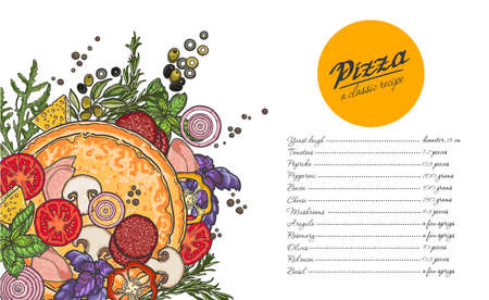Pizza and ingredients on white background, cheese, vegetables, meat, recipe, the list of ingredients. Illustration