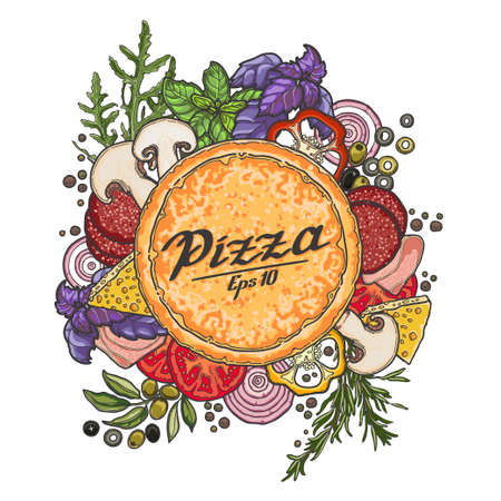 Pizza and ingredients on white background, cheese, vegetables, meat. Illustration