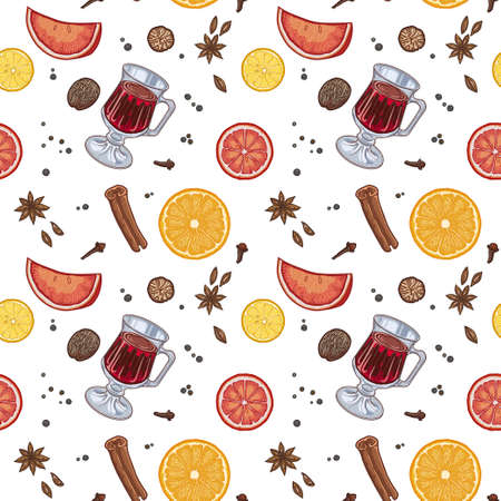 Pattern, mulled wine in the glass and components on a white background, spices and citrus.