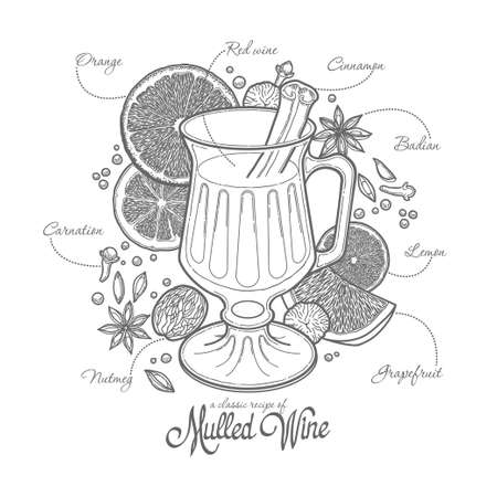 mulled wine in the glass and components, black outline on a white background, spices and citrus, recipe