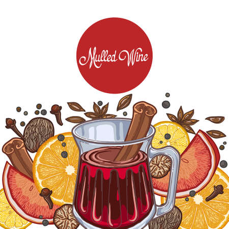 Mulled wine in the glass and components on a white background, spices and citrus. Çizim