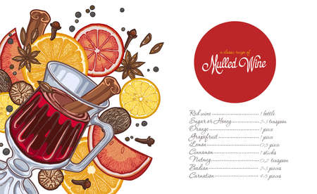 Mulled wine in the glass and components on a white background, spices and citrus, recipe, the list of ingredients. Illustration