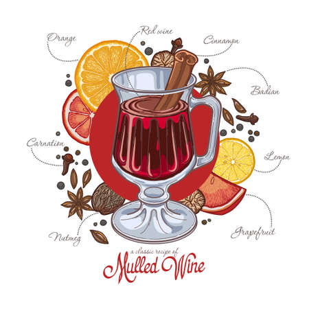 Mulled wine in the glass and components on a white background, spices and citrus, recipe. Illustration