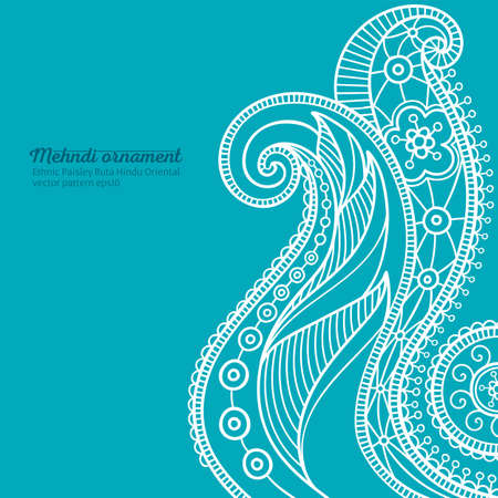 mehndi vector pattern,  ethnic paisley buta hindu oriental ornament, white curls on turquoise background, curl, floral motif Çizim