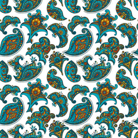 mehndi vector seamless pattern, ethnic paisley buta hindu oriental ornament, turquoise, orange and yellow curl, floral motif Çizim