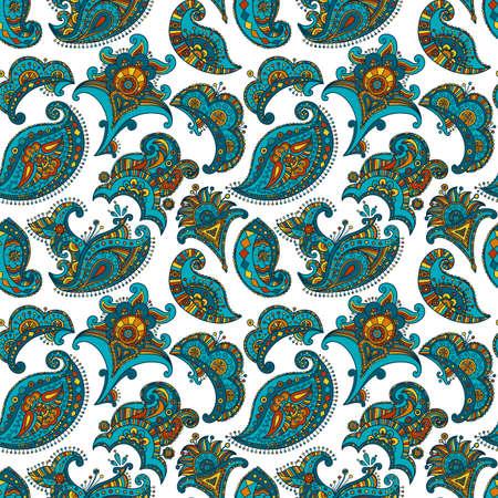 mehndi vector seamless pattern, ethnic paisley buta hindu oriental ornament, turquoise, orange and yellow curl, floral motif Illustration