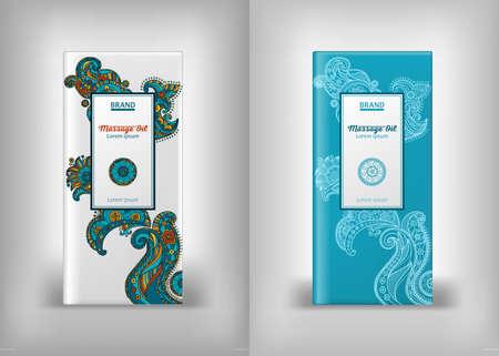 packaging design massage oils, cosmetics, mehndi vector pattern,  ethnic paisley buta hindu oriental ornament, curl, floral motif