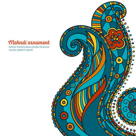 mehndi vector pattern,  ethnic paisley buta hindu oriental ornament, turquoise, orange and yellow curl, floral motif