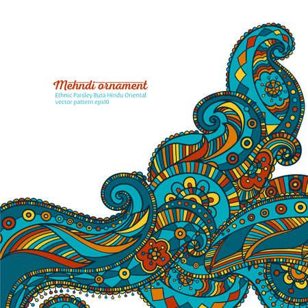 mehndi vector pattern,  ethnic paisley buta hindu oriental ornament, turquoise, orange and yellow curl, floral motif