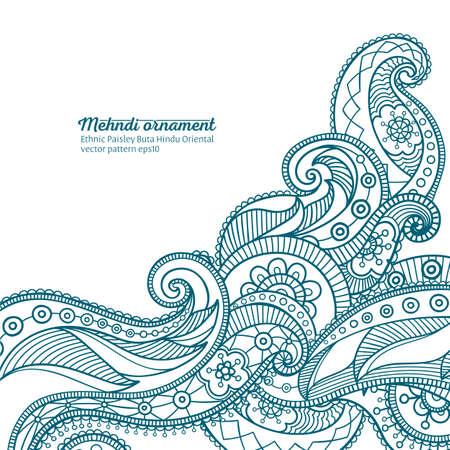 mehndi vector pattern,  ethnic paisley buta hindu oriental ornament, turquoise curl, floral motif