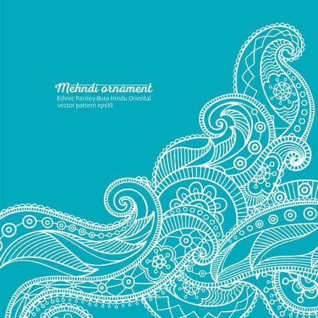 mehndi vector pattern,  ethnic paisley buta hindu oriental ornament, white curls on turquoise background, curl, floral motif Illustration