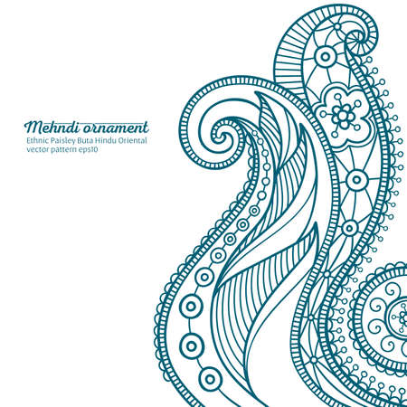 mehndi vector pattern,  ethnic paisley buta hindu oriental ornament, turquoise curl, floral motif