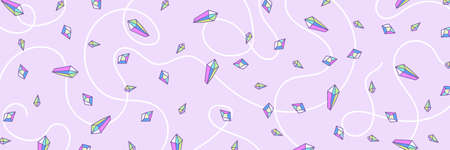 Web banner or header, pattern from crystal rainbow quartz in pastel colors, pink, purple, Indigo and turquoise, glitter gems, reflection holographic colors, delicate cute kids pattern for girls. Illustration