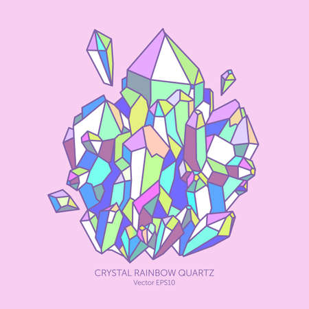 Crystal rainbow quartz in pastel colors, pink, purple, Indigo and turquoise, glitter gems, reflection holographic colors, card jewelry stores, geographic illustration.