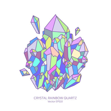 Crystal rainbow quartz in pastel colors, pink, purple, Indigo and turquoise, glitter gems, reflection holographic colors, card jewelry stores, geographic illustration