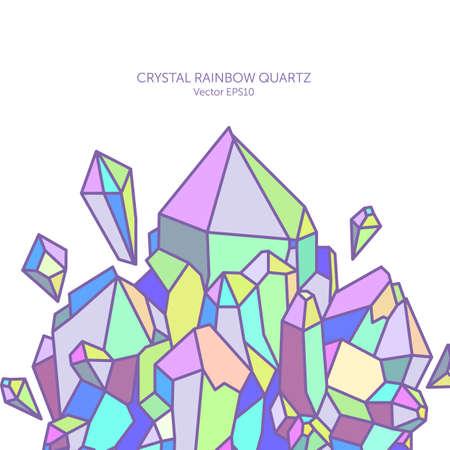 Crystal rainbow quartz in pastel colors