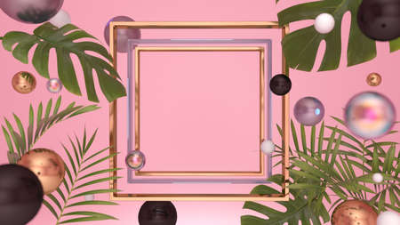 Golden presentation frame with elements of tropical plants, colorful shiny pearls on a pink background with a place for the message. 3D illustration, 3D render.