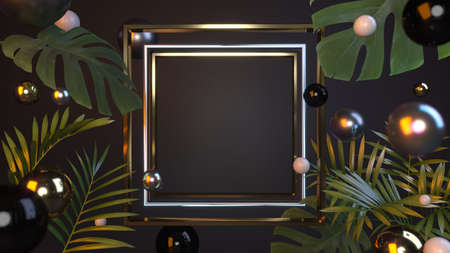 Golden presentation frame with elements of tropical plants, colorful shiny pearls on a black background with a place for the message. 3D illustration, 3D render.