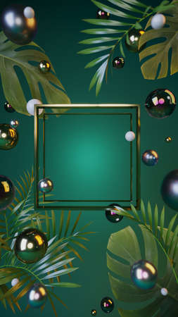 Golden presentation frame with elements of tropical plants, colorful shiny pearls on a green background with a place for the message. 3D illustration, 3D render.