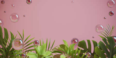 Pink field for the message, framed by tropical plants and soap bubbles. 3-d render. 3-d illustration.