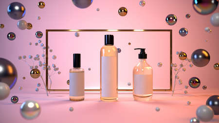 Mock-up presentation of cosmetics on a pink background in a gold frame, flying pearls, glass balls. 3-d render. 3-d illustration Stock Photo