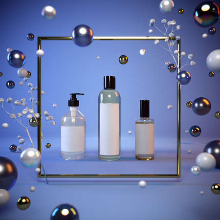 Mock-up presentation of cosmetics on a blue background in a gold frame, flying pearls, glass balls. 3-d render. 3-d illustration