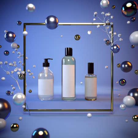 Mock-up presentation of cosmetics on a blue background in a gold frame, flying pearls, glass balls. 3-d render. 3-d illustration