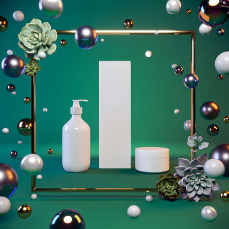 Mock-up presentation of cosmetics on a green background in a gold frame, flying pearls, glass balls, succulents. 3-d render. 3-d illustration