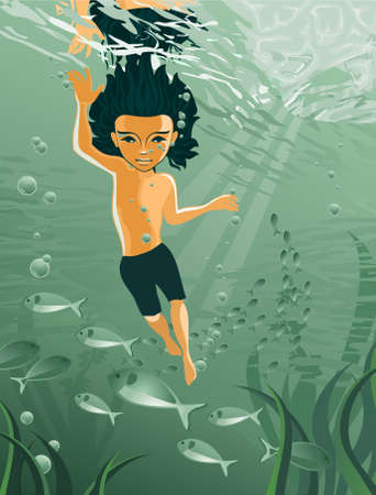 Boy swimming underwater Vector