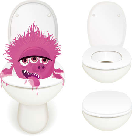 hygienic: Toilet monster Illustration